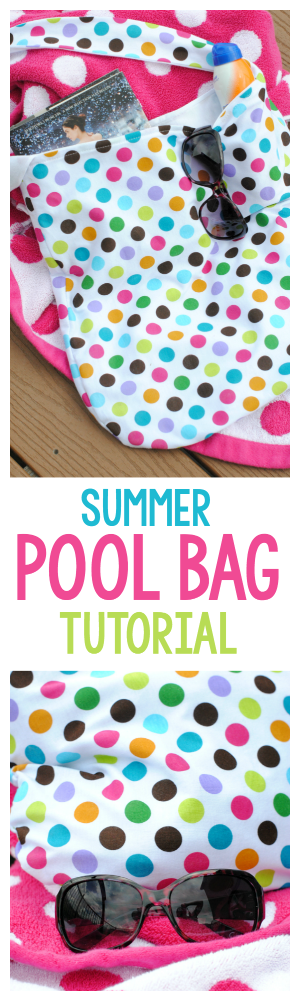 Summer Tote Bag Sewing Pattern-A great bag to take to the pool or to the beach this summer. Easy to sew and follow this tutorial. #sewing #sew #sewingpatterns #summer