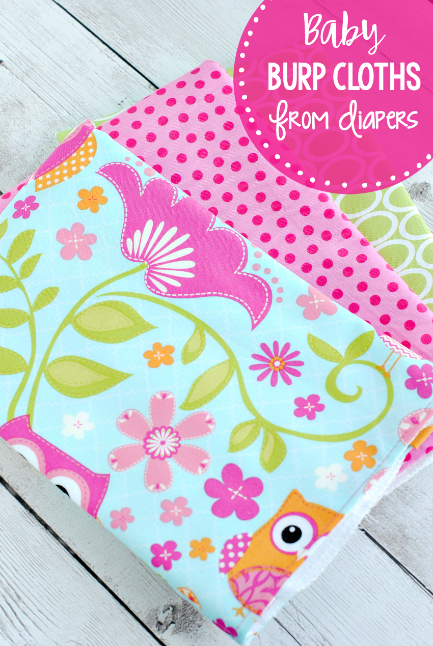 Baby Burp Cloths from Cloth Diapers-Sew these easy baby burp cloths from cloth diapers to make a great baby gift! #sewing #sewingpattern #baby #babygift #gifts