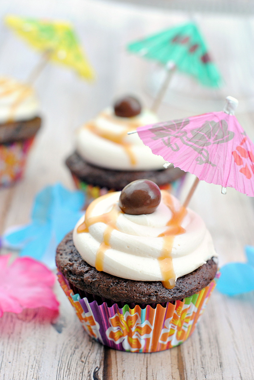 Say Aloha to these Chocolate Caramel Macadamia Nut Cupcakes