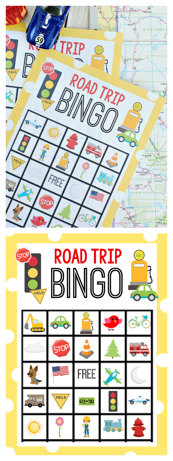 Road Trip Bingo Game-Great road trip ideas for kids. Play this fun Bingo game with the kids while you drive. Just print and play! #roadtrip #summer #kids #activities