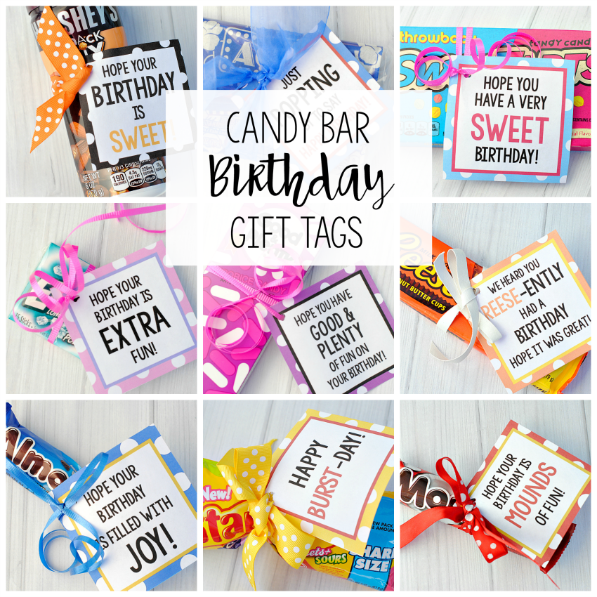 25 fun birthday gifts ideas for friends crazy little projects candy bar gift tags negle Image collections