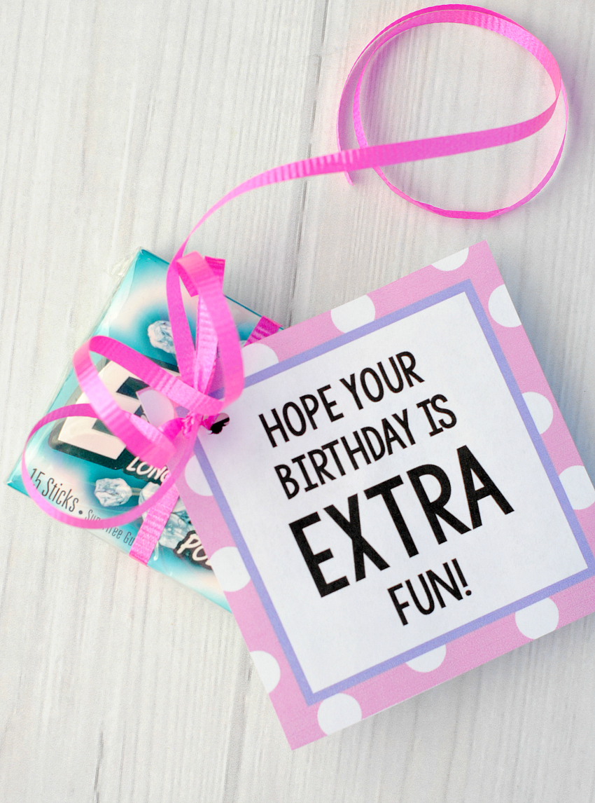 photo relating to Extra Gum Valentine Printable known as Added Gum Birthday Tag - Ridiculous Minimal Assignments