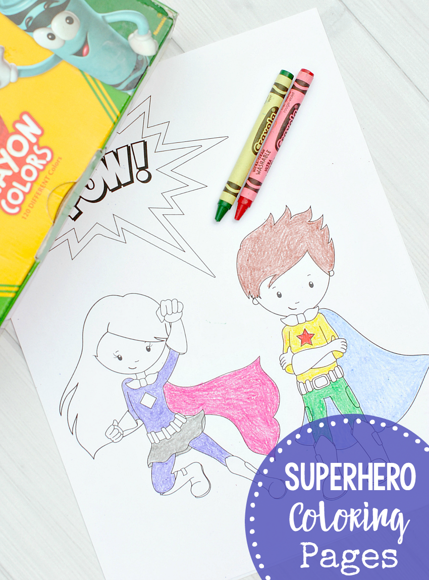 Free Printable Superhero Coloring Sheets for Kids-Print these cute superhero coloring sheets and color them with the kids! #superhero #kids #coloringpages