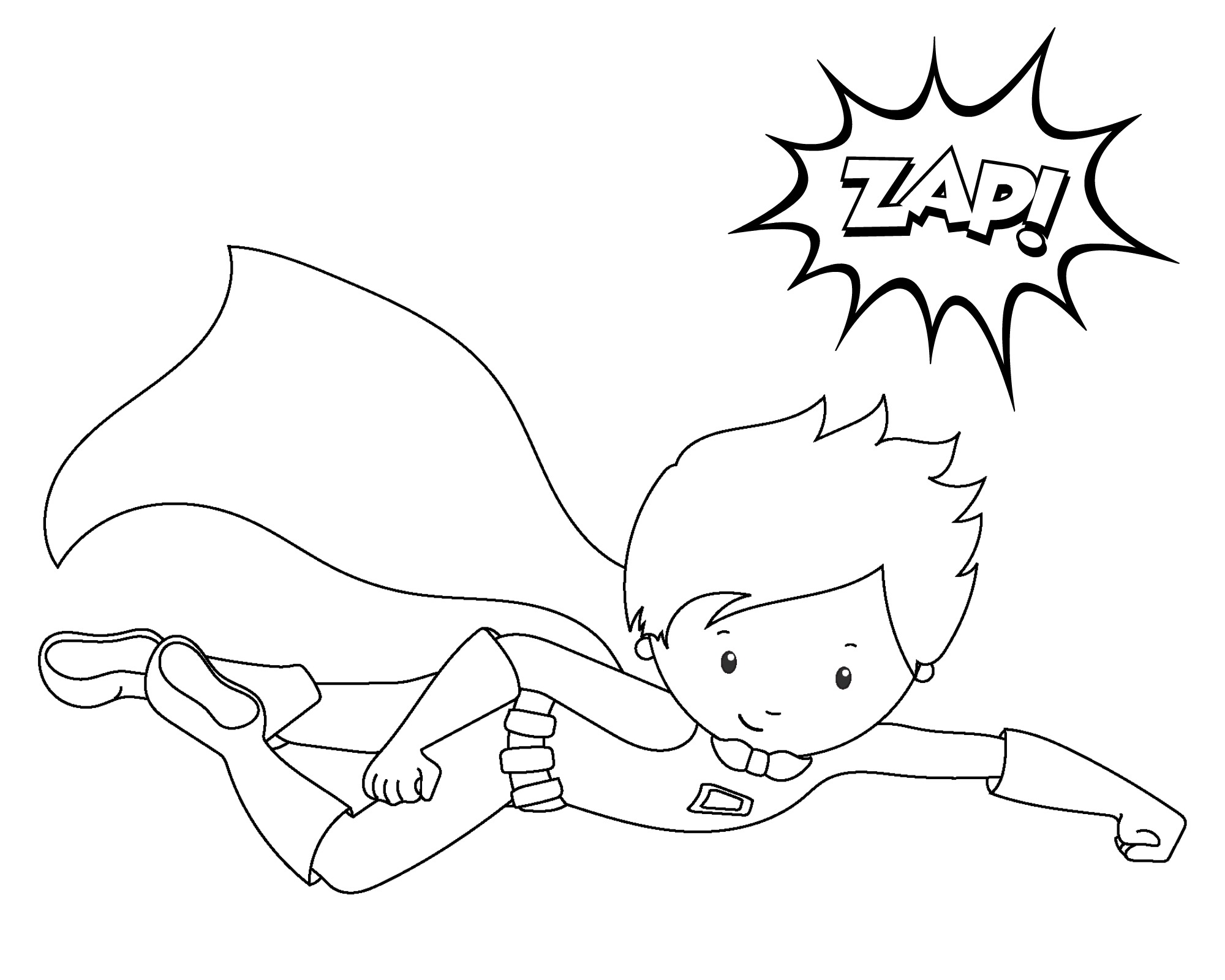flying superhero coloring page superhero2