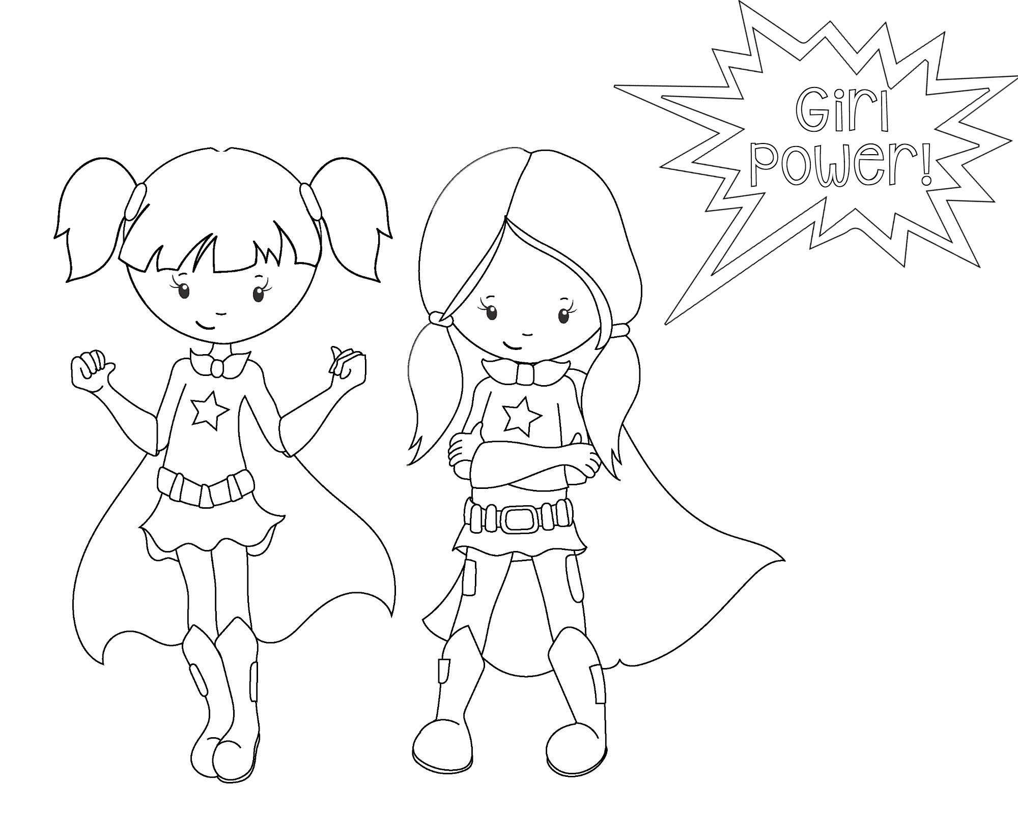 girl power superhero coloring page superhero3 - Coloring Pages Printable Girls