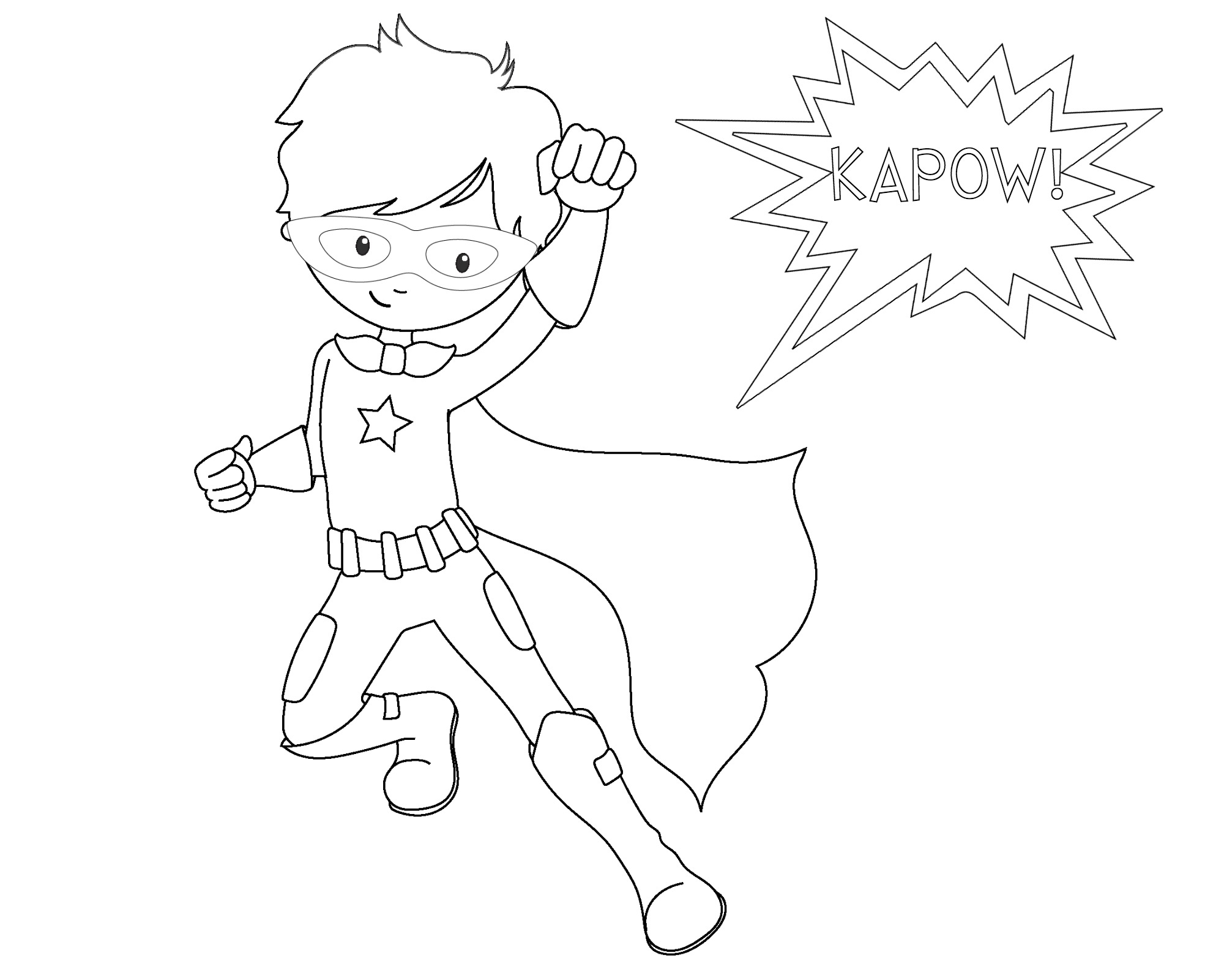 kapow superhero coloring page superhero4