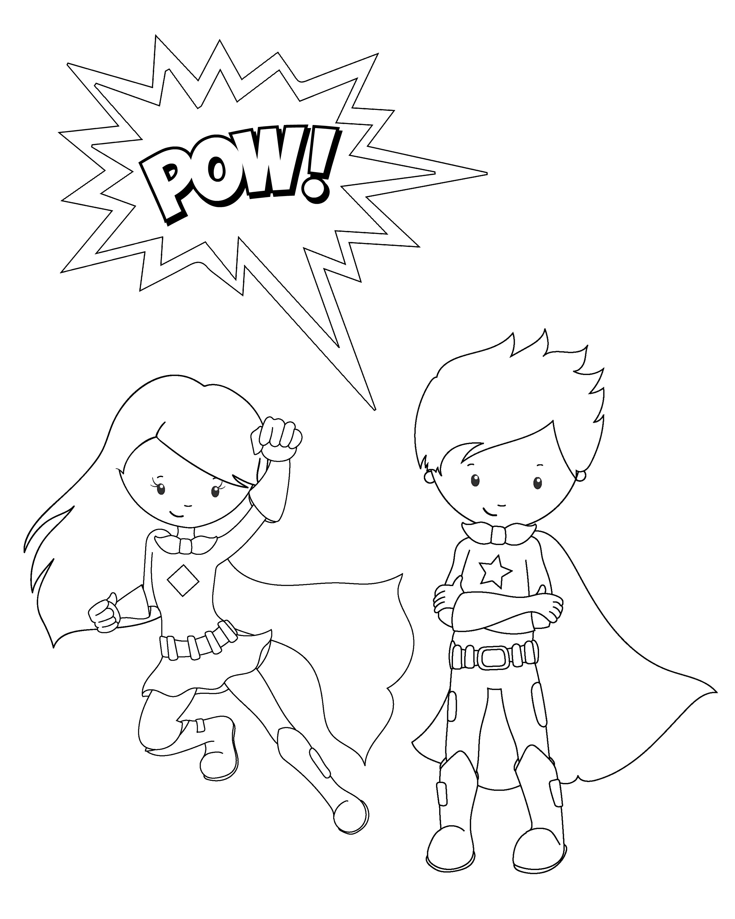 free superhero coloring pages pow superhero coloring page