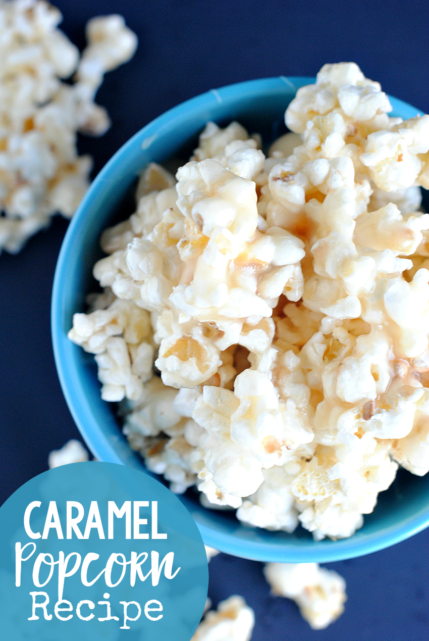 Caramel Popcorn Recipe-This caramel corn will have you grabbing it by the handful-it's SO good! Easy to make, soft and chewy-it's perfection. #dessert #dessertrecipe #caramelcorn #popcorn