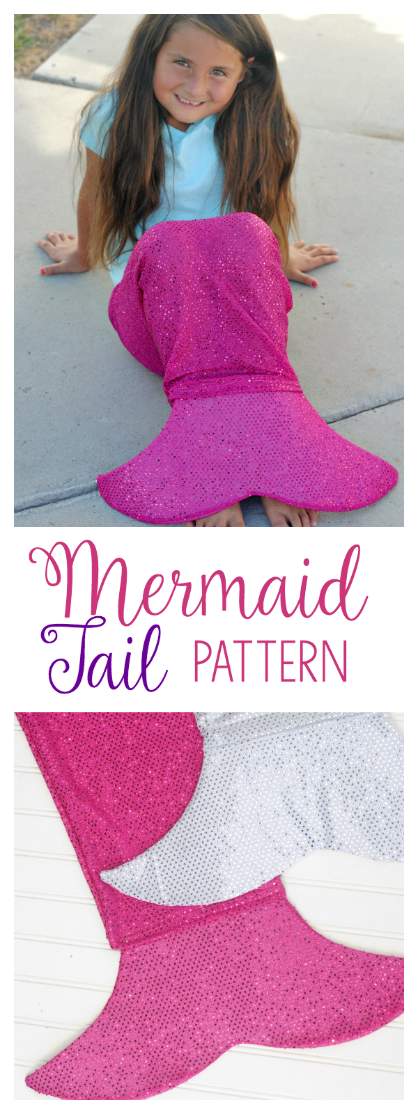 Mermaid Tail Pattern to sew for kids! This free mermaid tail pattern is a simple pattern, easy enough for beginners and one the kids are sure to love. #sewing #patterns #kids