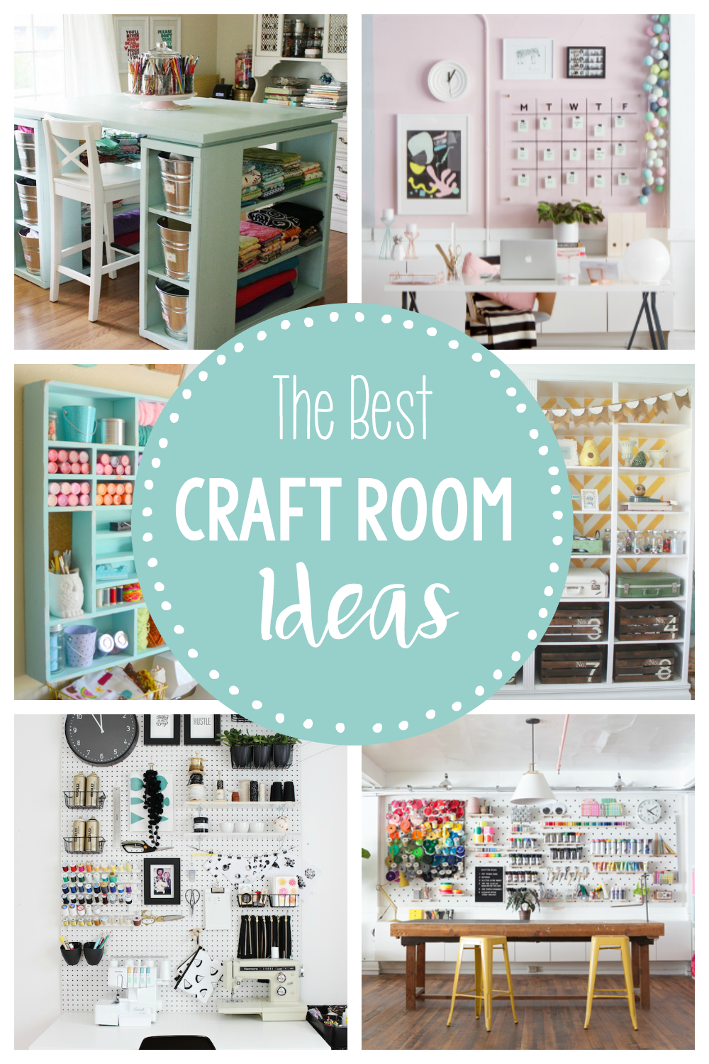 Craft Room Ideas-Check out all of these fun craft room ideas for great inspiration on craft room storage, organization and decorating. #craft #craftroom #craftrooms #deocr #organization #storage