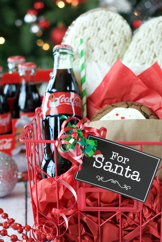Gift Basket for Christmas-Cookies and Coke for Santa