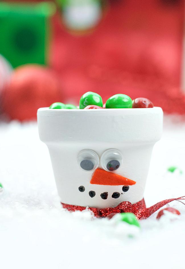 Snowman Candy Pot
