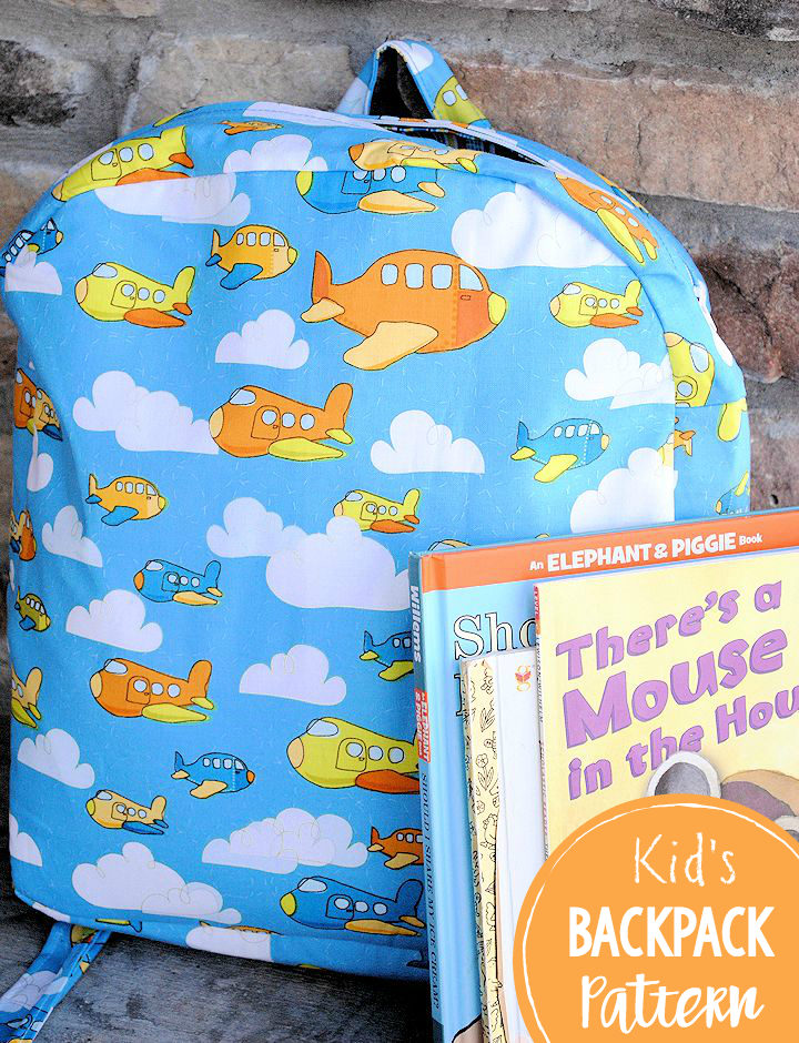 Kid's Backpack Pattern-This cute backpack is perfect for toddlers and preschoolers for trips to school or grandma's! #backtoschool #sewing #sew #patterns