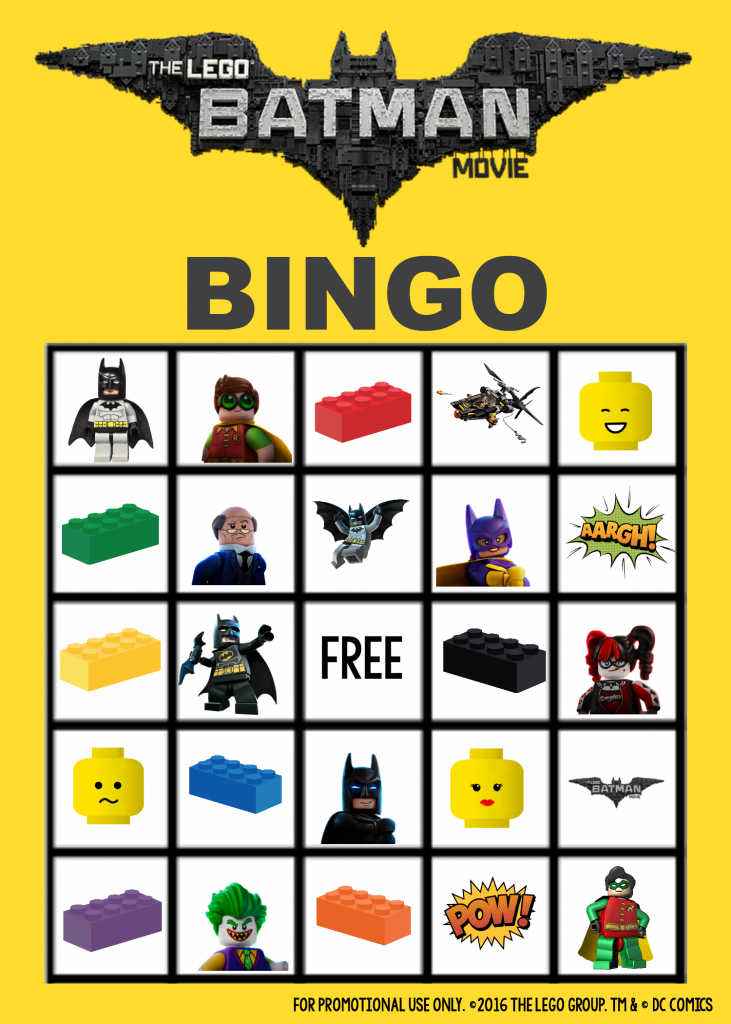 LEGO Batman Bingo Board