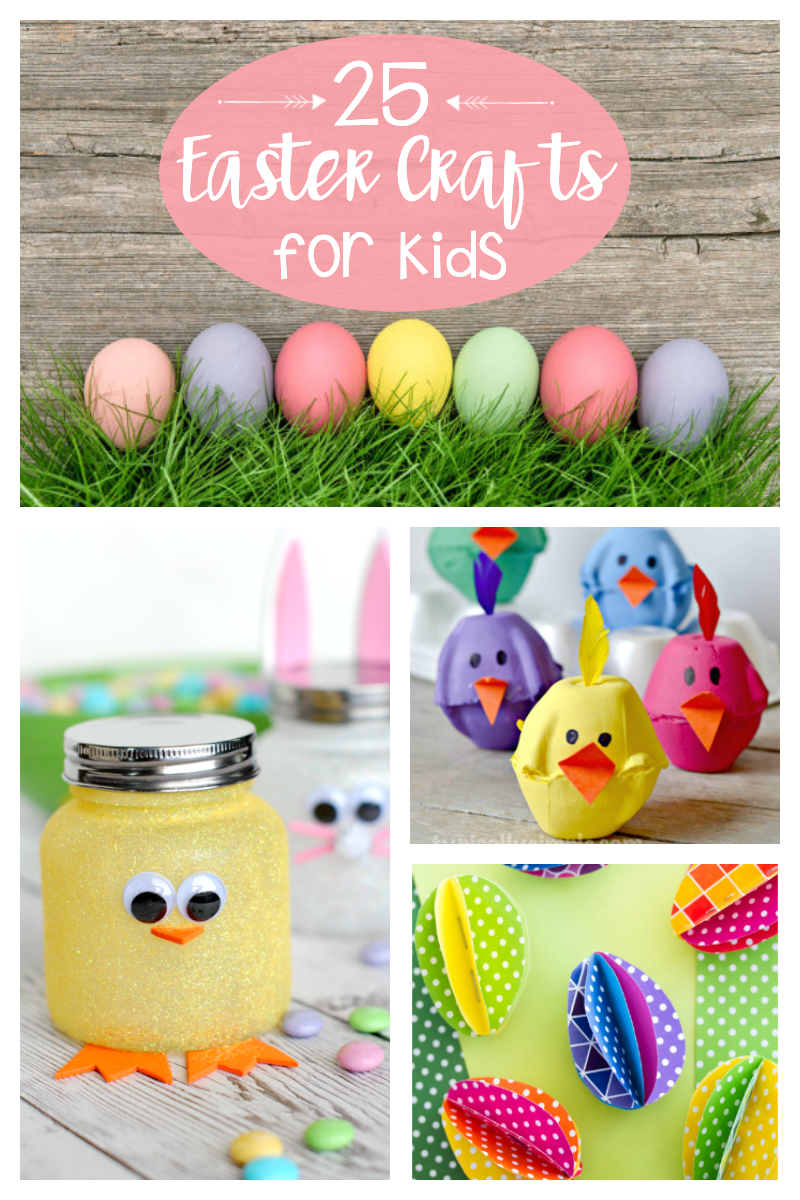 25 Easy Easter Crafts for Kids-They will love making these simple and fun Easter crafts with bunnies and chicks and eggs and more. #easter #eastercrafts #crafts