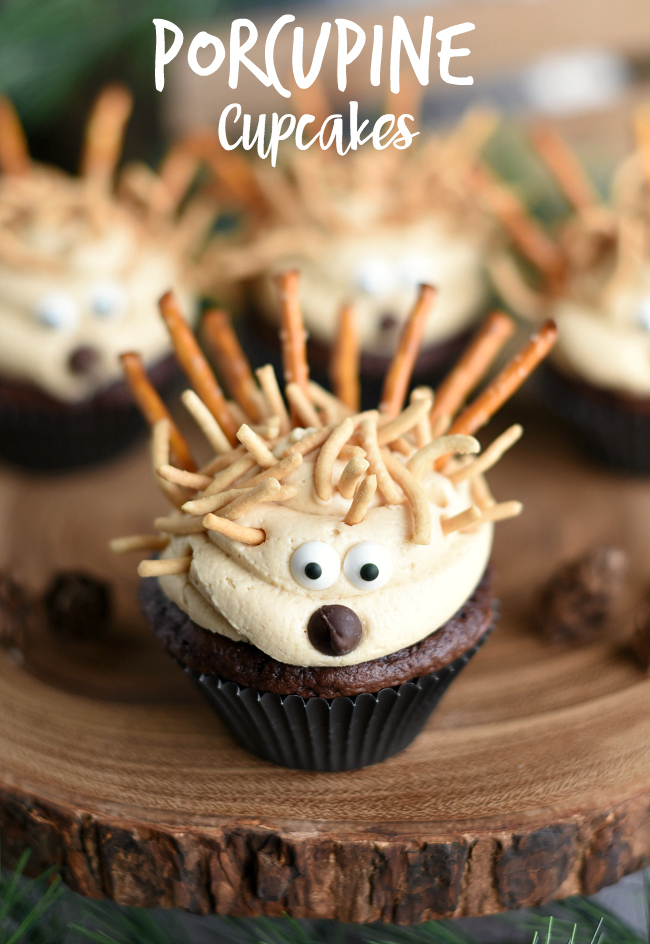Cute Animal Cupcakes-These little porcupine cupcakes are so cute they will make your kids want to gobble them up! #cupcakes #dessert #dessertrecipe