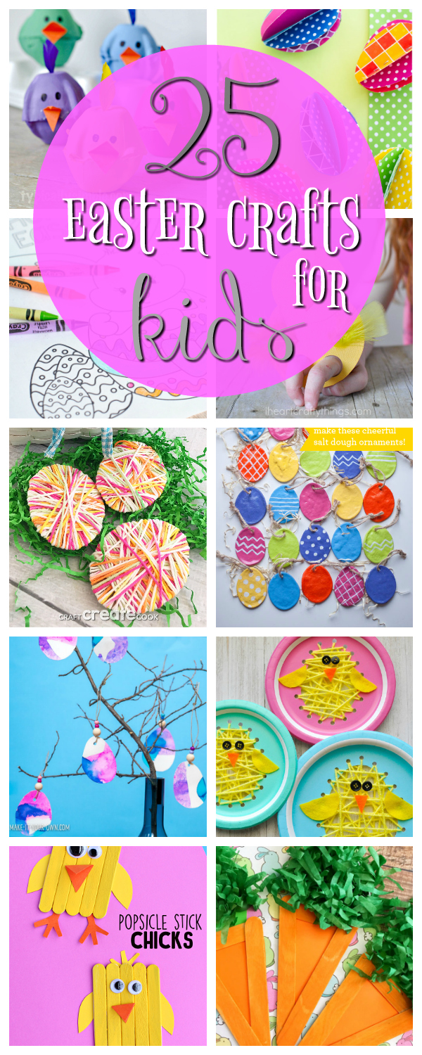 25 Cute and Fun Easter Crafts for Kids-Try these cute Easter craft ideas with your kids at home or for a party. So cute and so fun! #easter #eastercrafts
