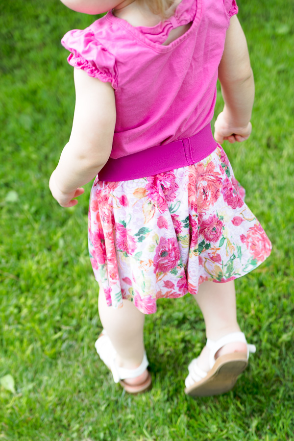 Simple Circle Skirt Pattern: This cute circle skirt pattern is easy to sew for the little girls in your life. A great beginner sewing project and something she will love! #sew #sewing #pattern
