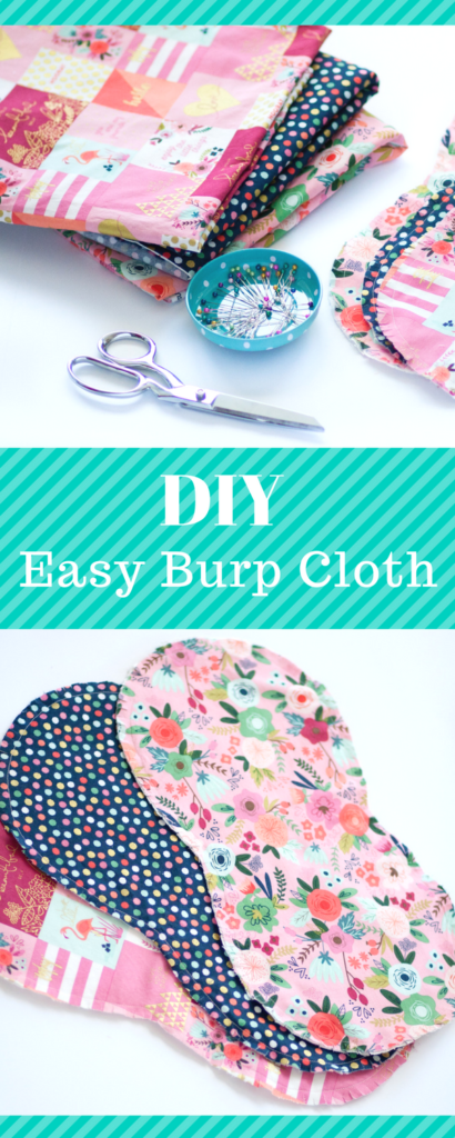 Easy Baby Burp Cloths Pattern-This fun and easy sewing pattern is free to use and makes a really cute baby gift or baby sewing project. #sewing #sewingpattern