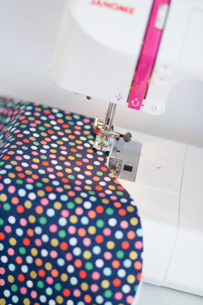 once you have sewn the burp cloth closed you will be clipping into the raw edge of the fabric to help it fray cut close to but not through the stitching