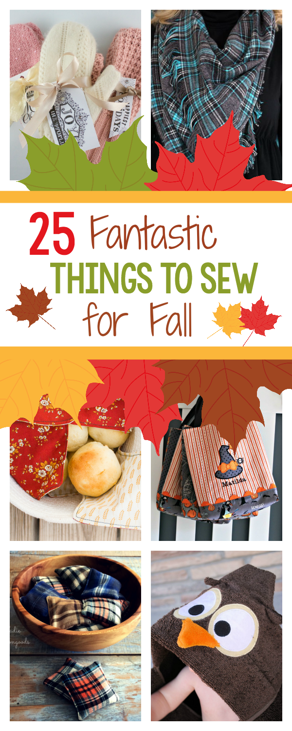 Fall Sewing Inspiration-25 Fun Things to Sew for Fall from football to Halloween, cozy blankets, warm scarves and all kinds of great Fall sewing ideas and patterns. #sew #sewing #pattern