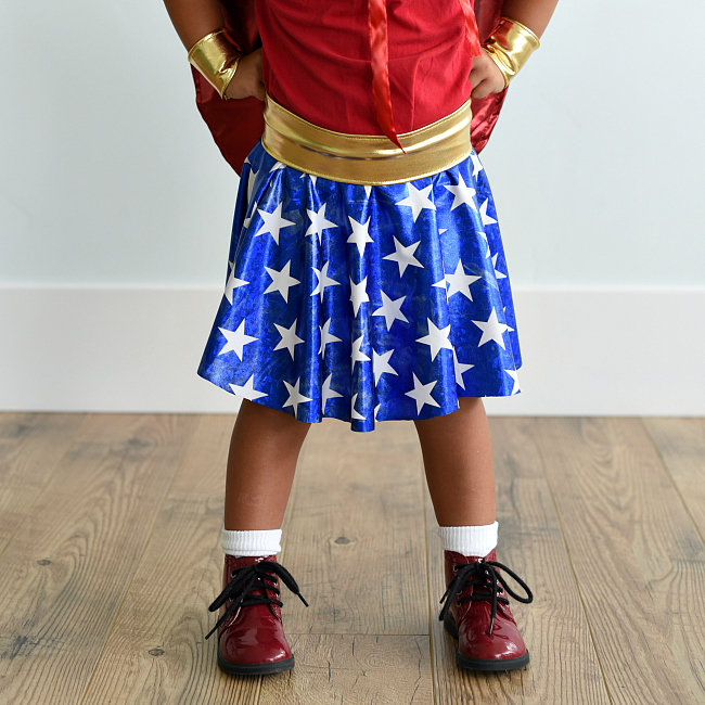 How to Make a Wonder Woman Costume for Kids-This Wonder Woman costume pattern is super cute and easy to sew! #costume #wonderwoman