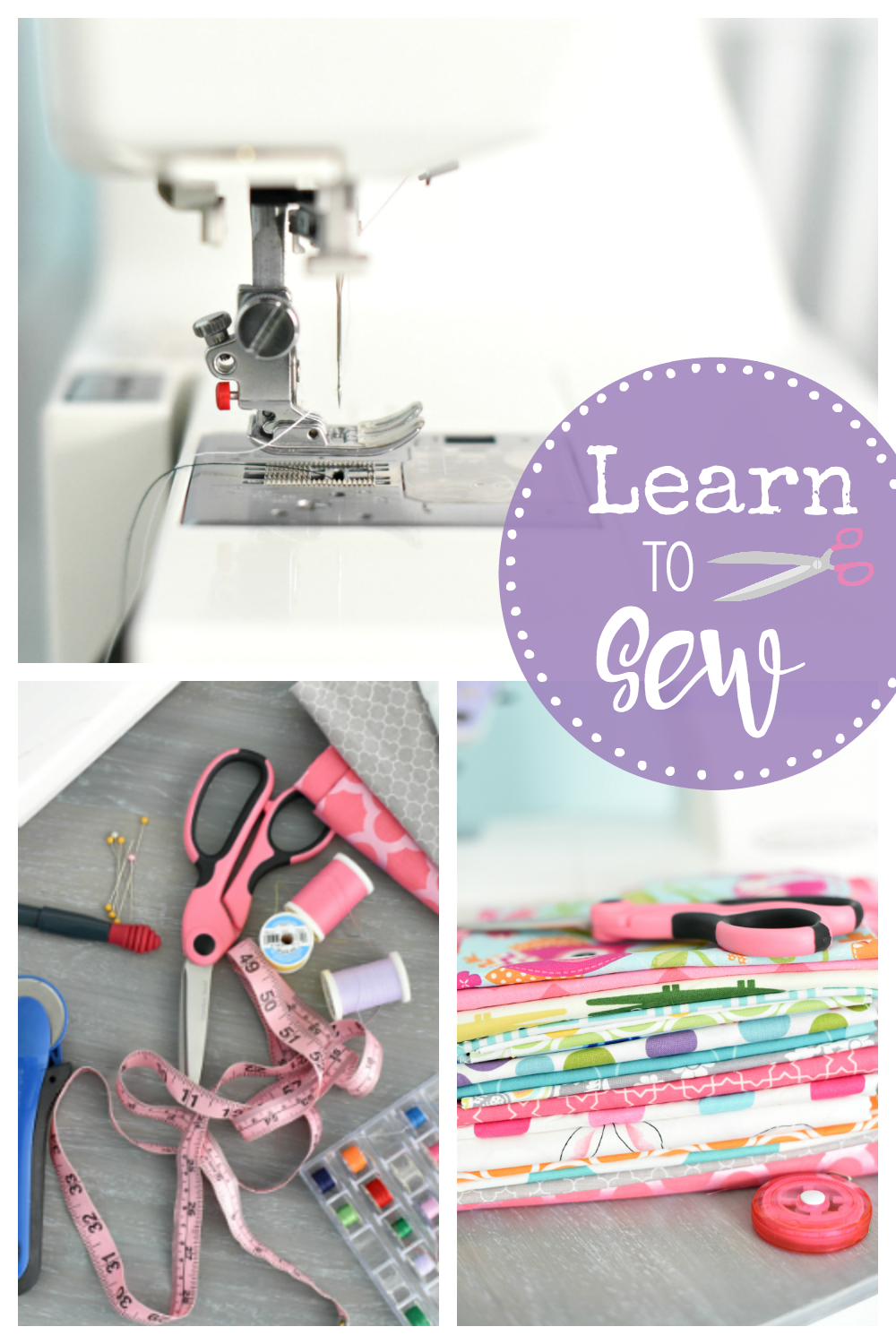 Learn to Sew with These Free Online Sewing Classes: These free online sewing classes will help you learn to sew. Everything from what machine and supplies to buy, how to thread your machine and how to sew a straight line (and beyond). #sew #learntosew #sewingclasses