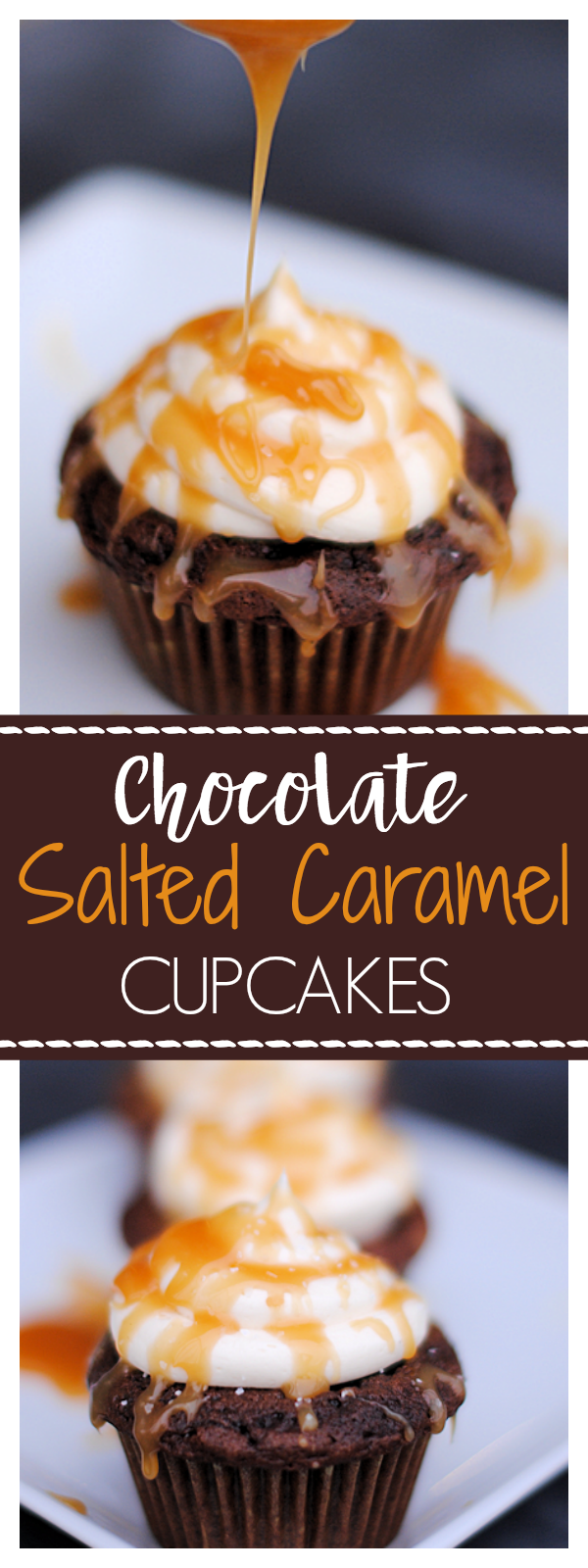 Chocolate Salted Caramel Cupcakes Recipe-These chocolate salted cupcakes taste amazing! And they are super easy to make! #recipes #cupcakes #bake #caramel #chocolate