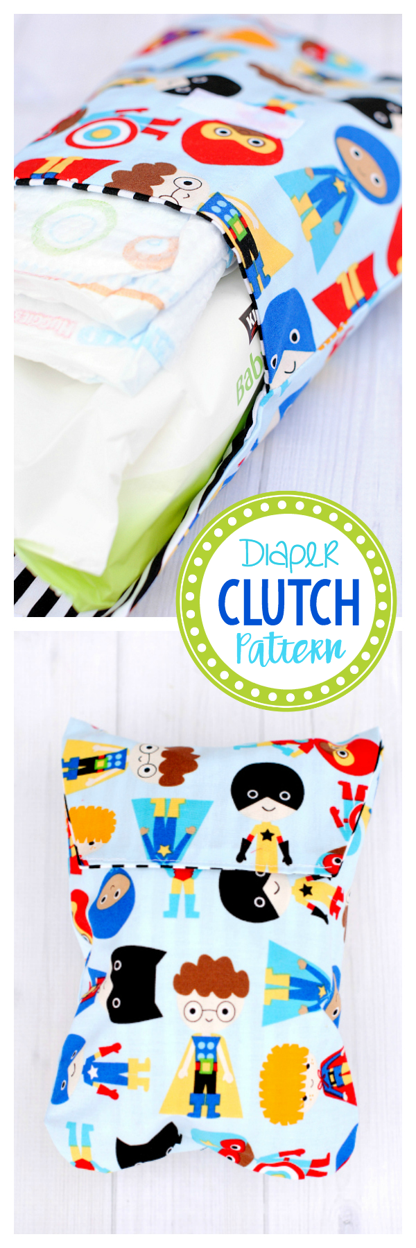Cute and Easy Diaper Clutch Pattern-Great for a New Mom and Makes a Great Baby Shower Gift! An easy sewing pattern for beginners to make. A really fun thing to sew! #sewingprojects #sewingpatterns #sewingpatternsfree #sewingpatternsbeginner