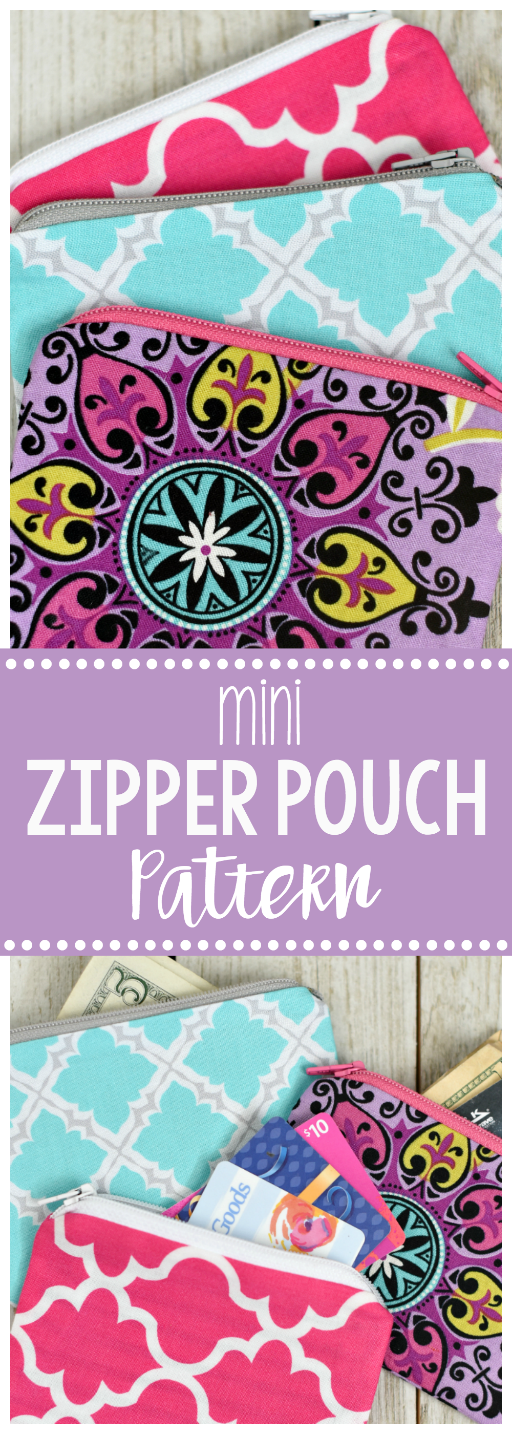 Mini Zipper Pouch or Coin Purse Pattern-This is a fun and easy sewing pattern and makes a great beginner sewing project if you want to try your hand at zippers. Cute and fun to sew! #sew #sewingpatterns #sewingpatternsfree