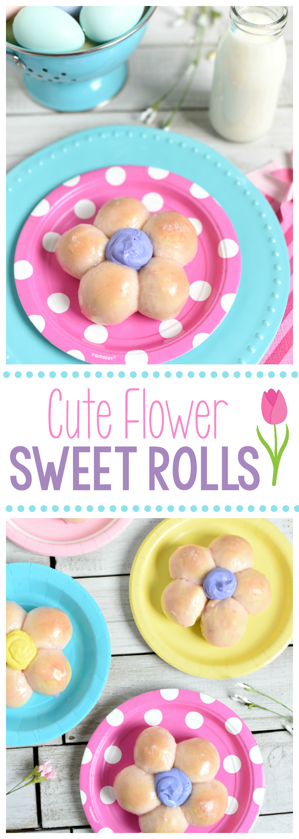 Sweet Rolls Shaped Like Flowers for Easter Brunch or Mother's Day or just for a Spring treat. They are easy to make and taste so good! #bake #donuts #breakfast #easter #spring #brunch