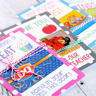 Printable Teacher Gift Card Holders