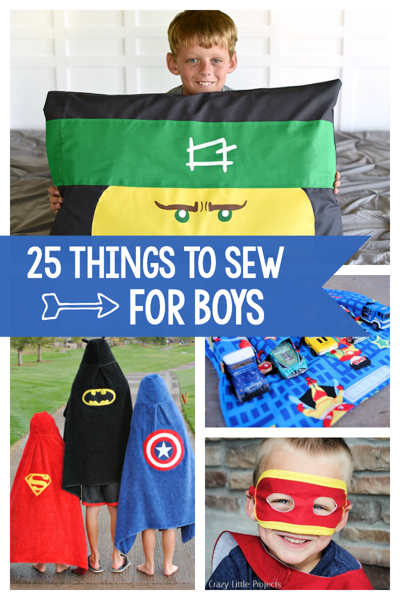 25 Free Sewing Patterns for Boys: These fun patterns are perfect for little boys (and girls might love them too). Superhero capes and masks, car carriers, pillowcases and more! #sewing #sew #sewingpatterns