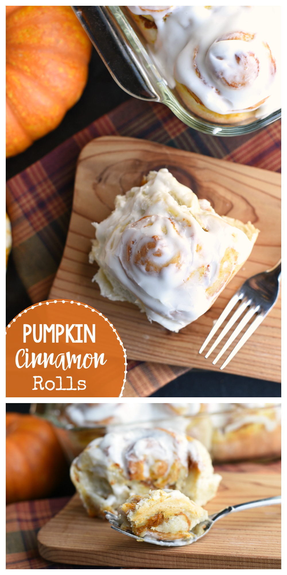 These easy pumpkin cinnamon rolls are made using Rhodes Bake N Serv rolls, meaning they are easy to make and they taste amazing! Pumpkin spice inside a yummy roll and topped with cream cheese frosting. You're going to love them! #pumpkin #bake #thanksgiving #food #recipes