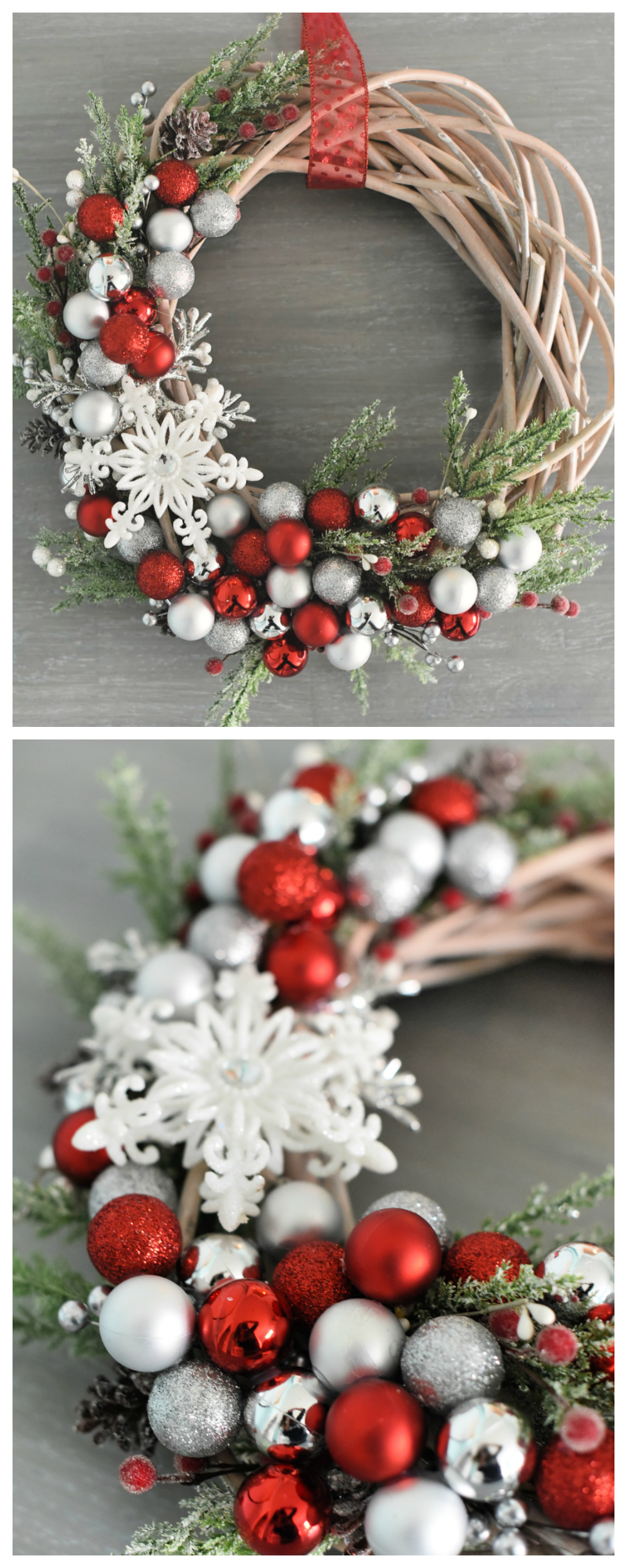 How to Make a Christmas Wreath-This beautiful DIY Christmas wreath turns out beautiful and is fun to make. It will look so festive hanging on your front door for the holidays. #christmaswreath #wreaths #christmasdecor