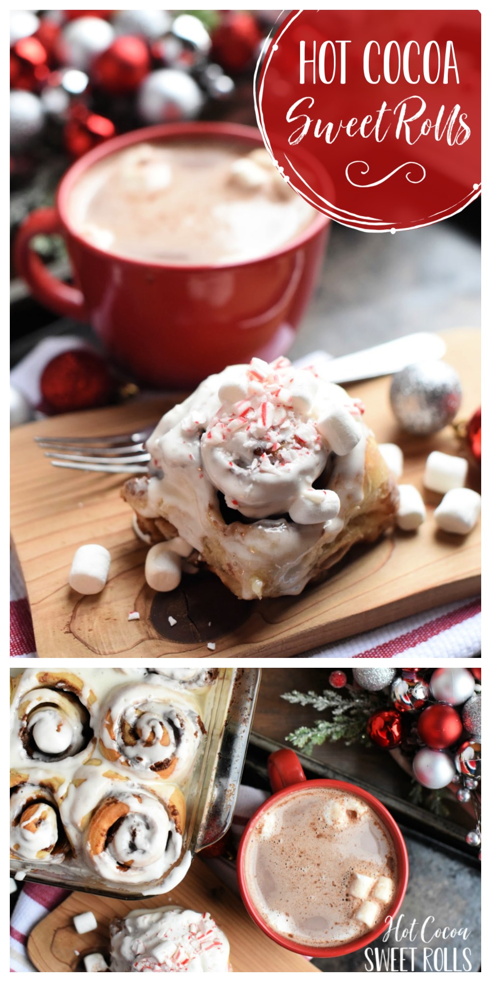Hot Chocolate Sweet Rolls-These rolls are filled with a warm chocolate and topped with marshmallow icing. Sprinkle crushed peppermint on top for a perfect Christmas breakfast or treat. Made with Rhodes Bake N Serv rolls meaning they are super easy and taste amazing! #christmas #christmasbreakfast #breakfast #dessert #dessertrecipes