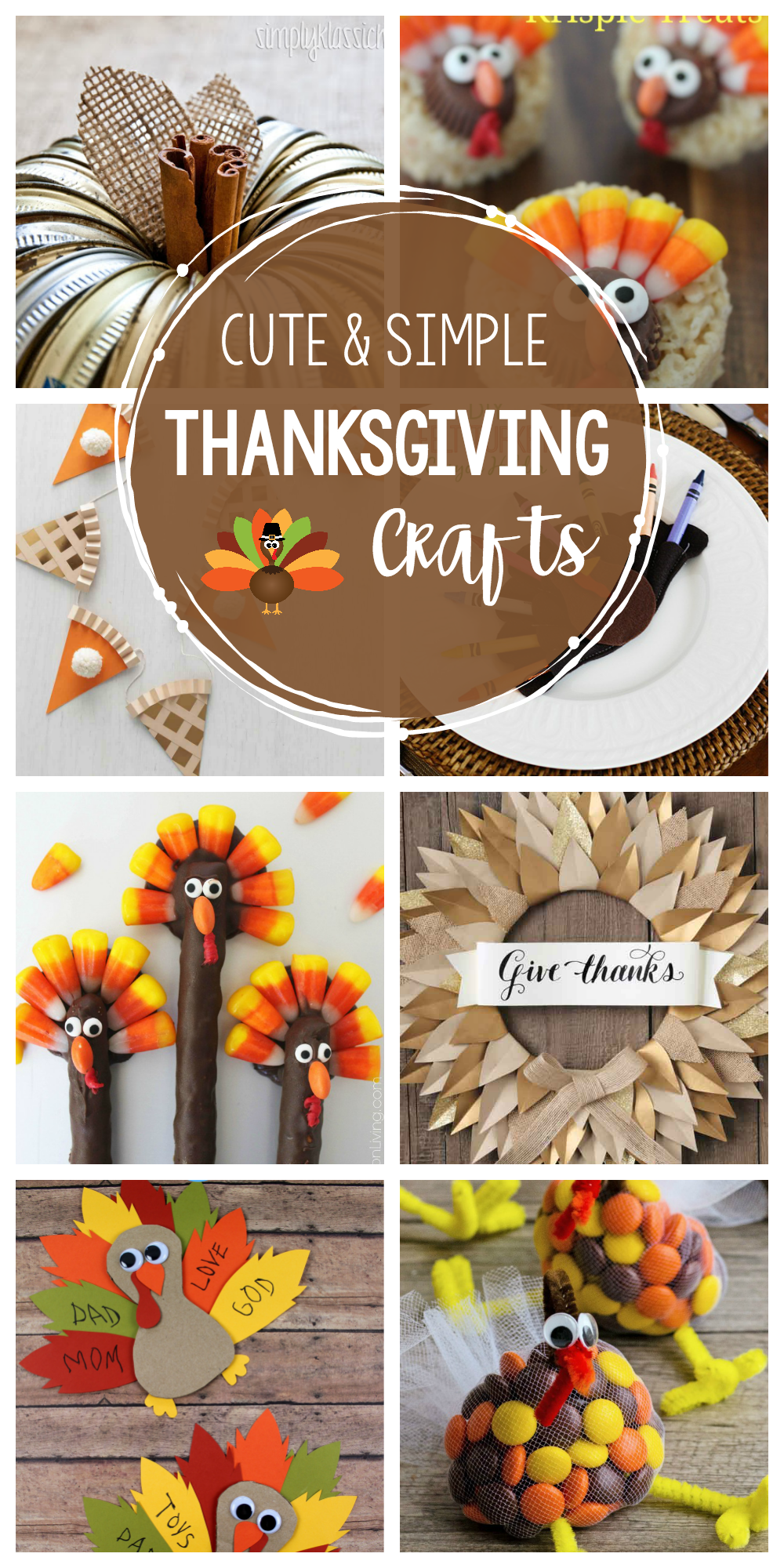 20+ Cute and Simple Thanksgiving Crafts to Try this Year! Need something fun to do while the turkey cooks? These fun Thanksgiving Craft Ideas are great for kids and adults alike. #Thanksgiving #thanksgivingcrafts #craftideas
