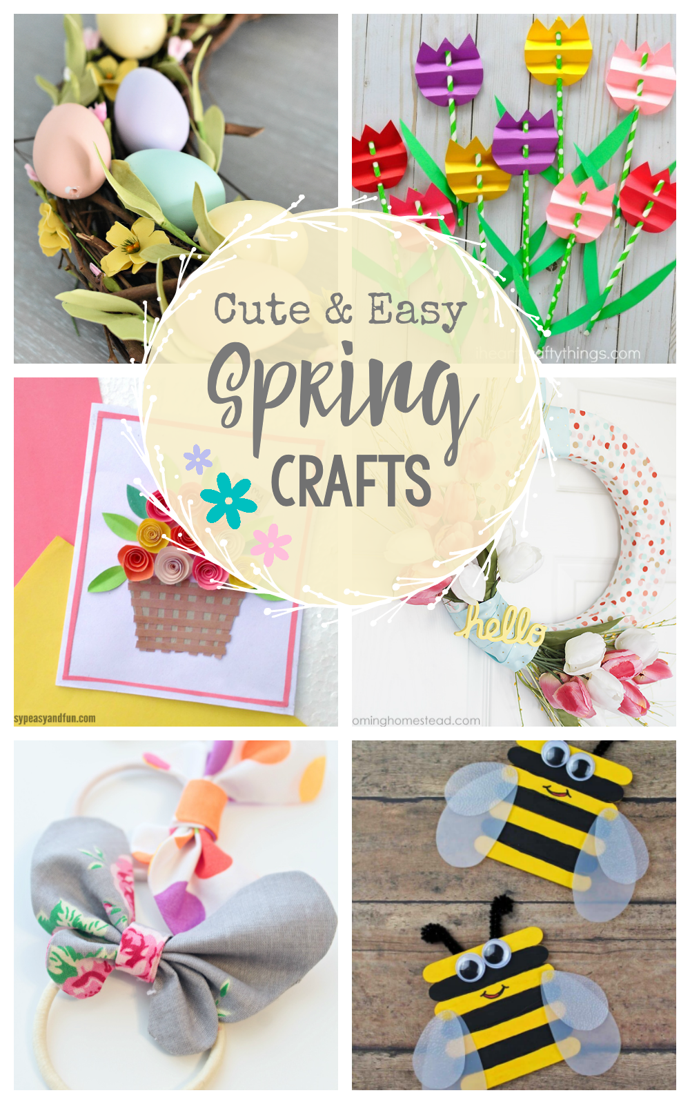 These cute Spring Craft Ideas are great for kids or for you to try this year! Flowers and Easter, pastels and other cute, simple Spring crafts! #spring #crafts #craftideas #springcrafts