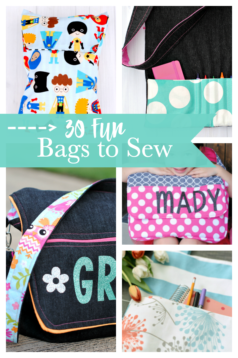 30 Bags to Sew-Free bag sewing patterns that you are going to love! Tote bags, duffels, zipper bags, and more! #sewingpatterns #sew