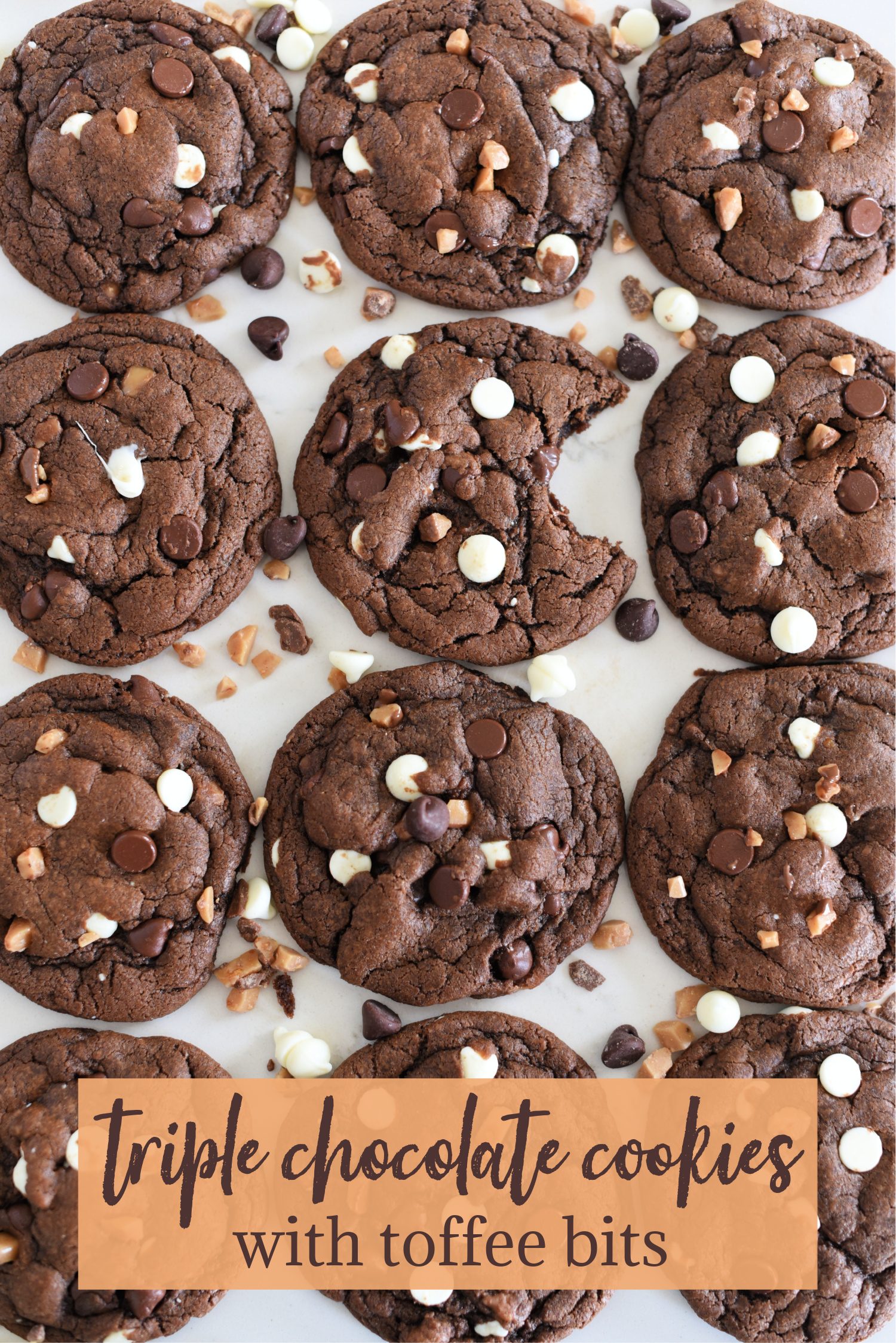 Triple Chocolate Cookies with Toffee Bits: Chocolate cookie recipe with white chips, chocolate chips, and toffee bits.