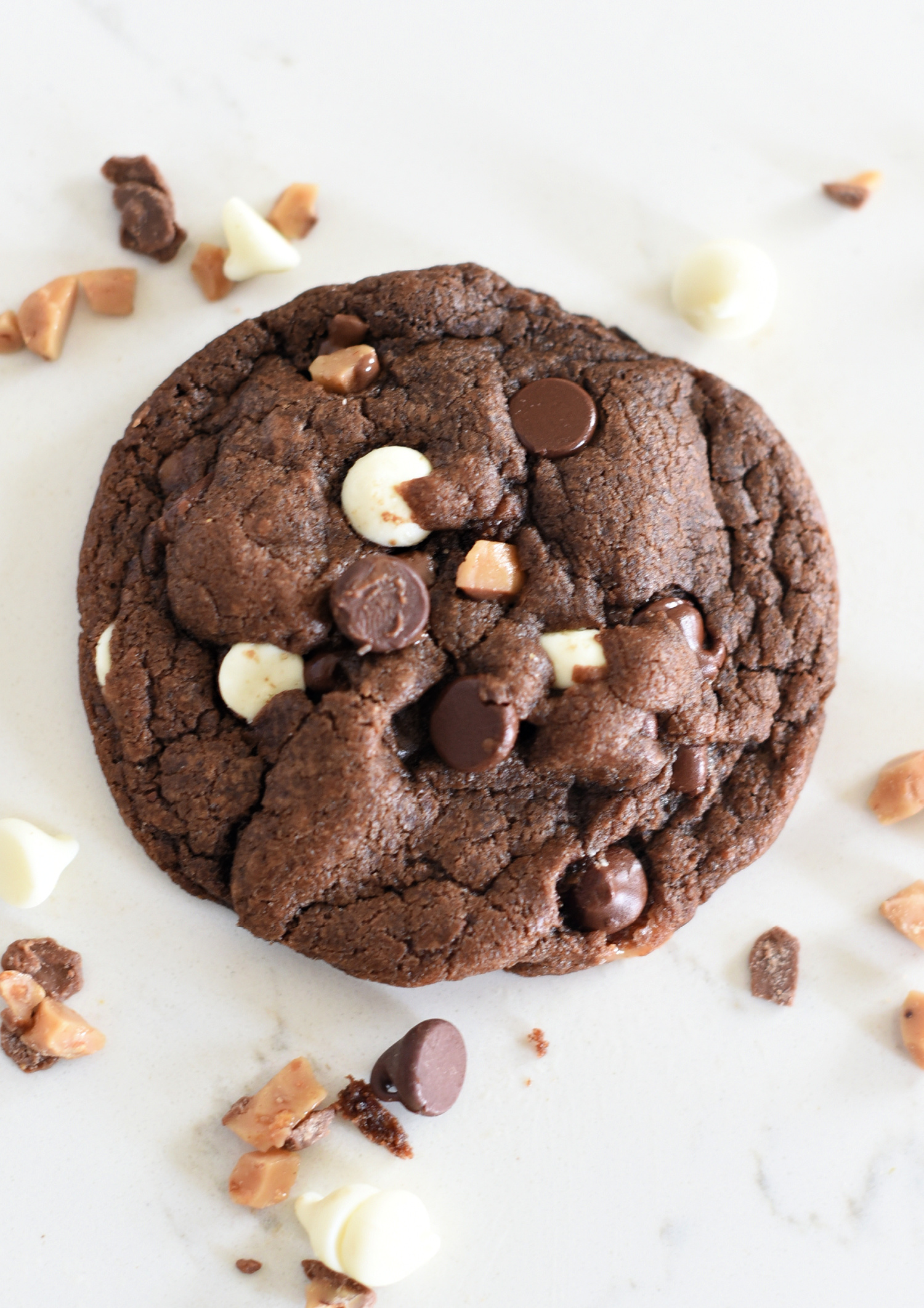 Chocolate Chocolate Chip Cookie with White Chocolate and Toffee