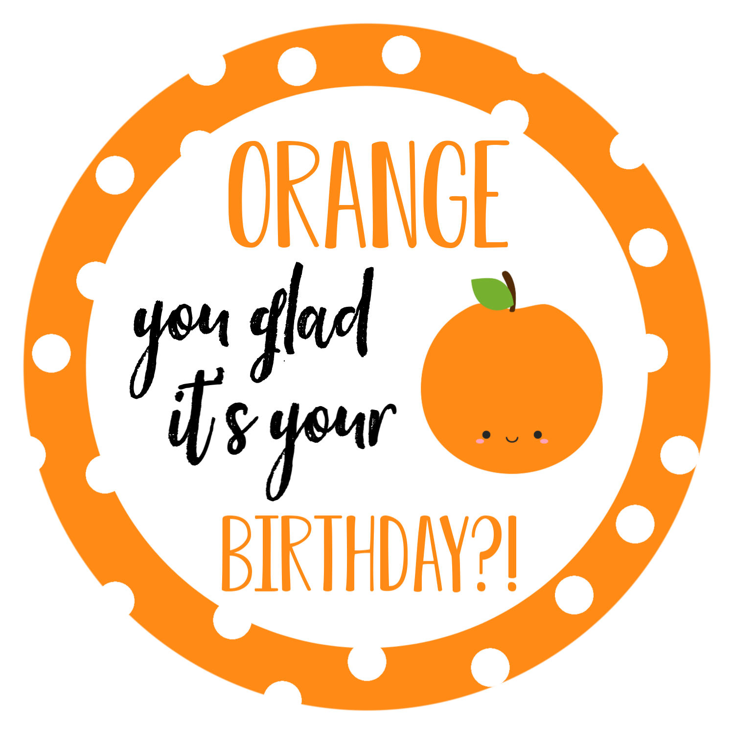 Orange Birthday Tag