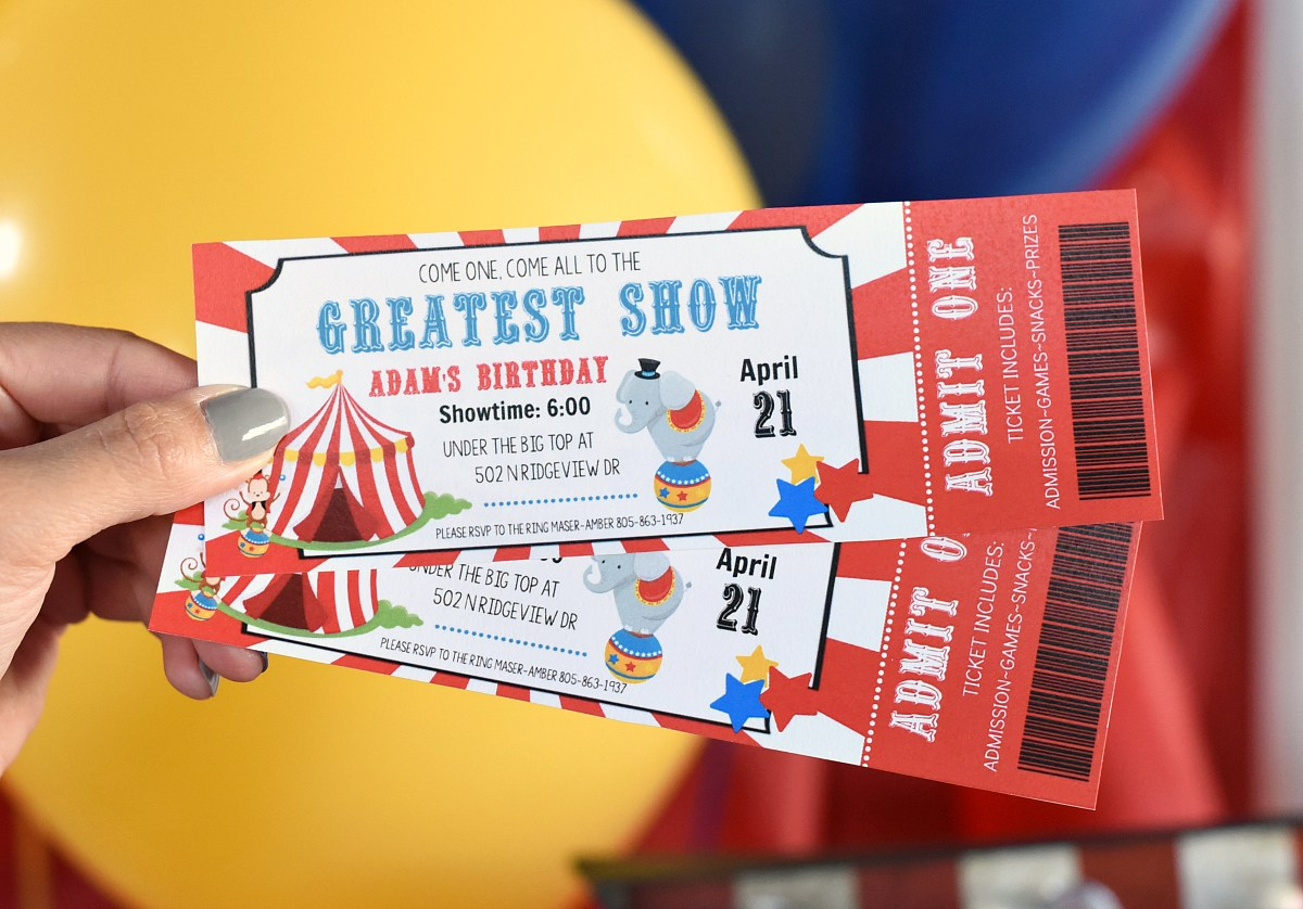 Circus Theme Party Invitations
