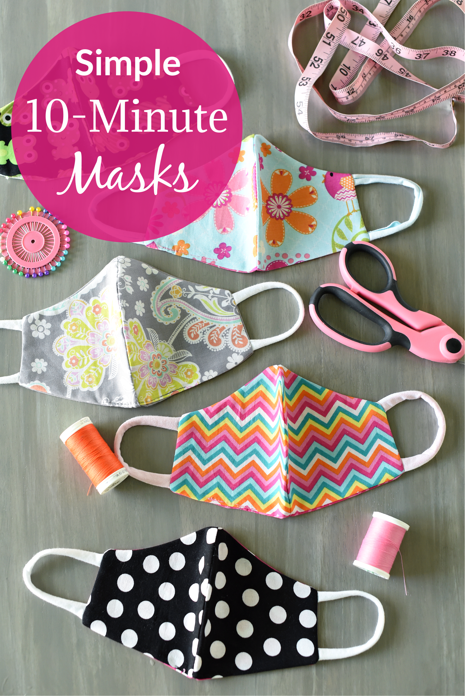 Simple Face Mask Pattern that is easy to make and comfortable to wear. Available in 5 sizes for all ages. #masks #maskpattern #sewing