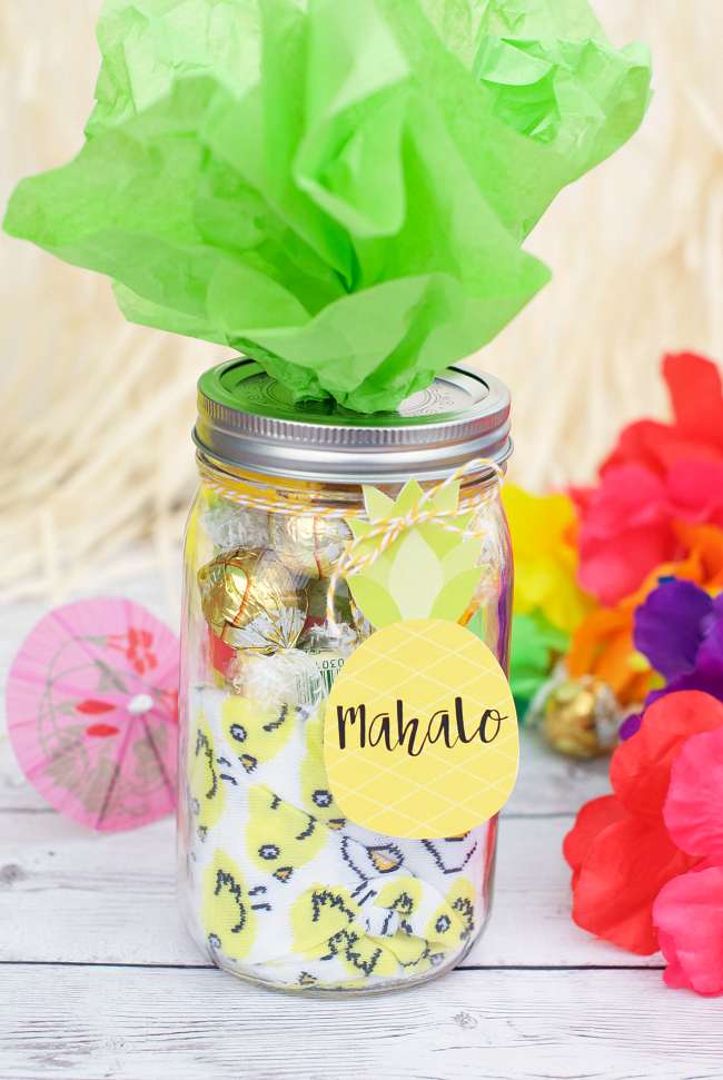 Mahalo Pineapple Themed Thank You Gift Idea Crazy Little Projects