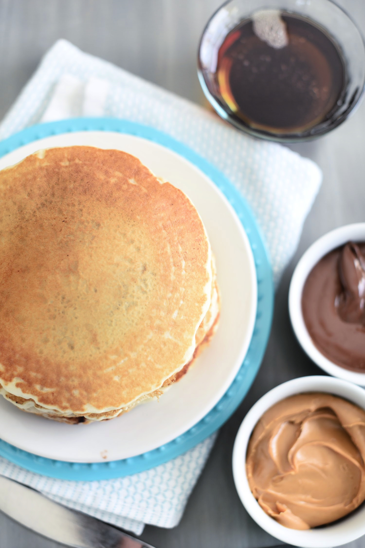 Nutella and Peanut Butter Stuffed Pancakes