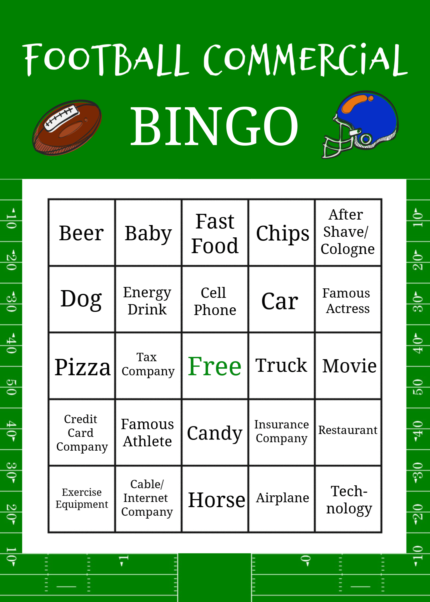 Superbowl Commercial Bingo Game Boards