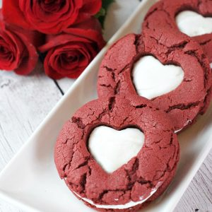 Red velvet cookies for Valentine's Day