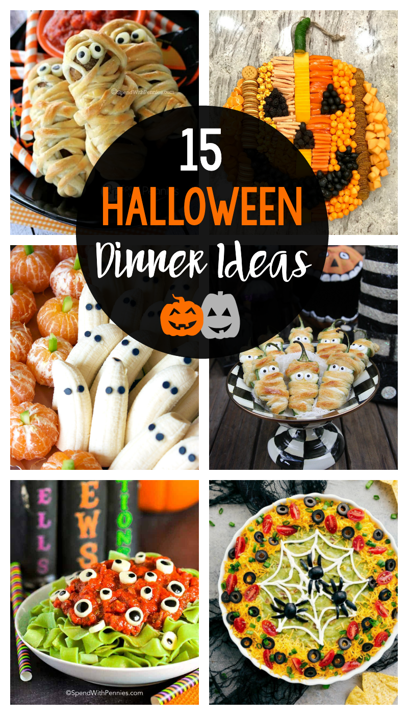 15 Halloween Dinner Ideas to try this year for your Halloween dinner whether it's at home with your kids and family or for Halloween party food
