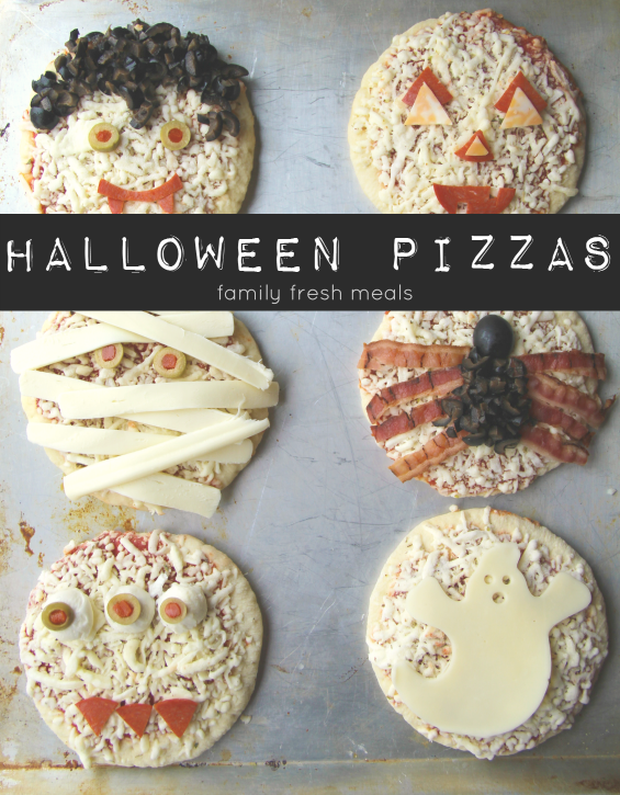 Mini Pizzas for Halloween Dinner